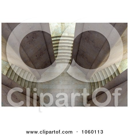 Royalty-Free CGI Clip Art Illustration of a 3d Court Yard With Three Staircases - 2 by Mopic
