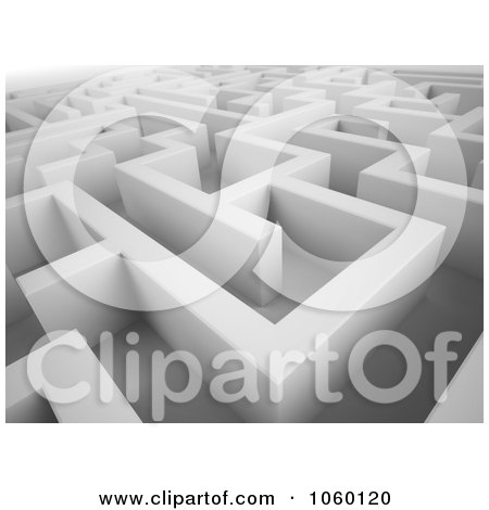 Royalty-Free CGI Clip Art Illustration of a 3d Complex White Maze by Mopic
