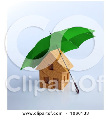 Royalty-Free CGI Clip Art Illustration of a 3d Security Umbrella Over A House by Mopic