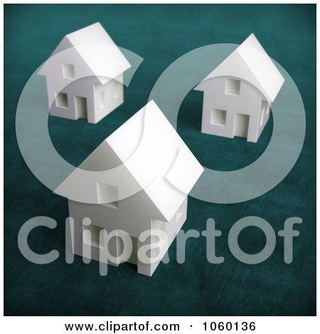 Royalty-Free CGI Clip Art Illustration of 3d White Houses by Mopic
