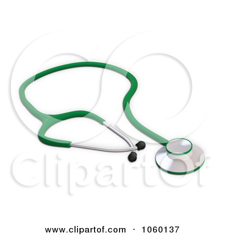 Royalty-Free CGI Clip Art Illustration of a 3d Green Stethoscope by Mopic