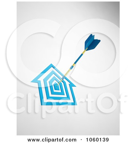 Royalty-Free CGI Clip Art Illustration of a 3d Dart In A House Target by Mopic