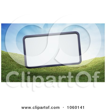 Royalty-Free CGI Clip Art Illustration of a 3d Billboard Over Grassy Hills by Mopic