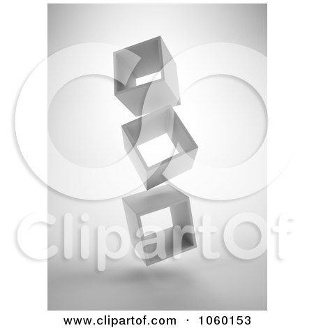 Royalty-Free CGI Clip Art Illustration of 3d Floating Boxes by Mopic