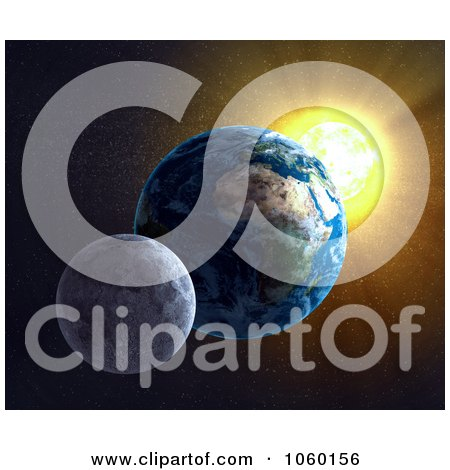 Royalty-Free CGI Clip Art Illustration of a 3d Moon, Earth And Sun by Mopic
