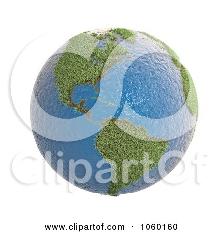 Royalty-Free CGI Clip Art Illustration of a 3d Earth Featuring Grassy America by Mopic