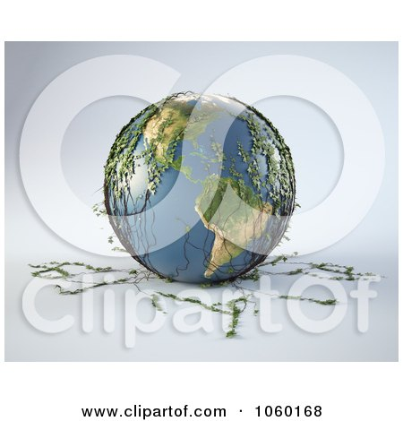 Royalty-Free CGI Clip Art Illustration of a 3d Earth With Ivy Plants by Mopic