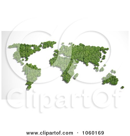 Royalty-Free CGI Clip Art Illustration of a 3d Atlas Made Of Trees by Mopic