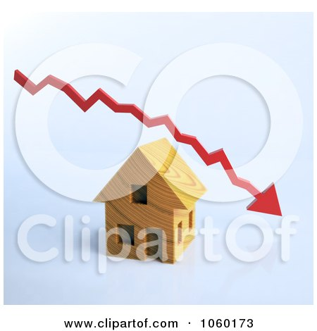 Royalty-Free CGI Clip Art Illustration of a 3d Decline Arrow Over A House by Mopic