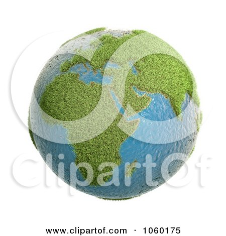 Royalty-Free CGI Clip Art Illustration of a 3d Grassy Earth by Mopic