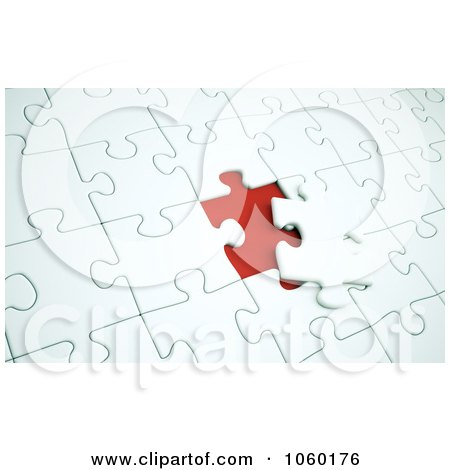 Royalty-Free CGI Clip Art Illustration of a 3d Nearly Completed Puzzle by Mopic