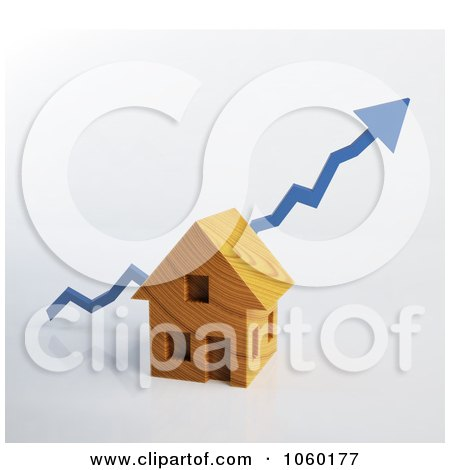 Royalty-Free CGI Clip Art Illustration of a 3d Blue Arrow Over A House by Mopic