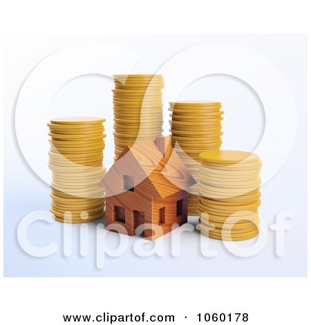 Royalty-Free CGI Clip Art Illustration of a 3d Wood House And Coins by Mopic