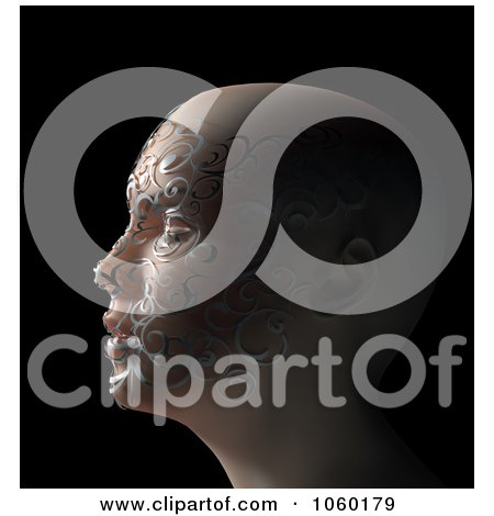 Royalty-Free CGI Clip Art Illustration of a 3d Woman's Face With Floral Texture by Mopic