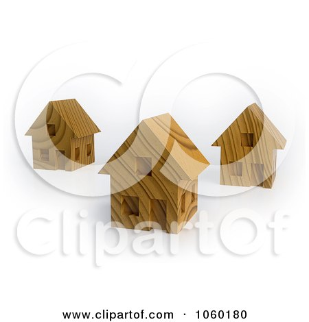 Royalty-Free CGI Clip Art Illustration of 3d Wooden Houses by Mopic