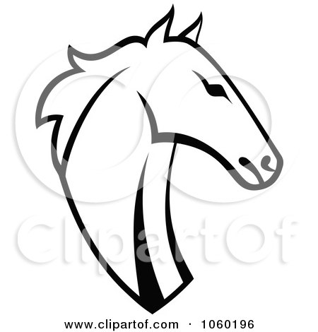 Royalty-Free Vector Clip Art Illustration of a Black And White Horse Head Logo - 5 by Vector Tradition SM