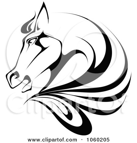 Royalty-Free Vector Clip Art Illustration of a Black And White Horse Head Logo - 1 by Vector Tradition SM