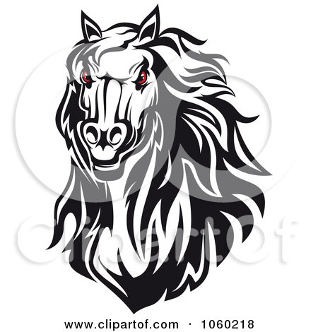 Royalty-Free Vector Clip Art Illustration of a Red Eyed Horse Head Logo - 4 by Vector Tradition SM