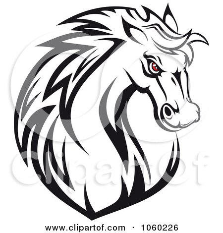 Angry Horse Head Logo Red Eyed Horse Head Logo 1
