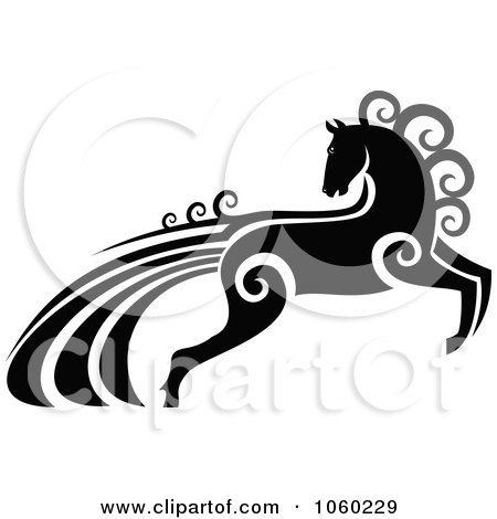 Royalty-Free Vector Clip Art Illustration of an Ornate Black And White Horse With Swirls - 1 by Vector Tradition SM
