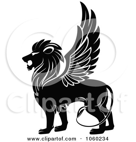 Royalty-Free Vector Clip Art Illustration of a Black And White Winged Lion Logo - 1 by Vector Tradition SM