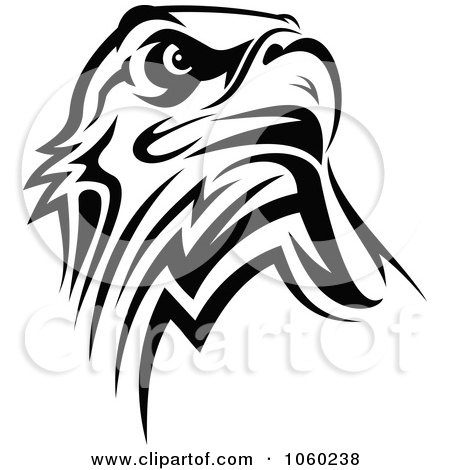 Royalty-Free Vector Clip Art Illustration of a Black And White Eagle Logo by Vector Tradition SM