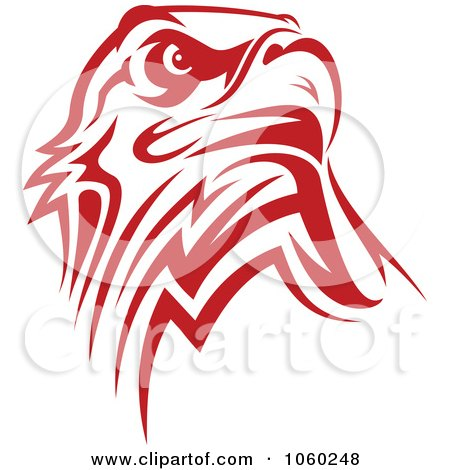 Royalty-Free Vector Clip Art Illustration of a Red Eagle Logo by Vector Tradition SM