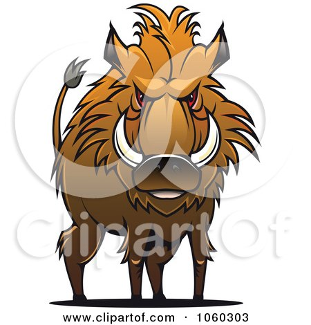 Royalty-Free Vector Clip Art Illustration of a Razorback Boar Logo - 11 by Vector Tradition SM