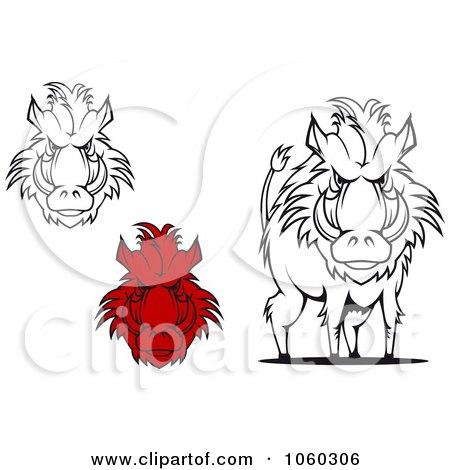 Royalty-Free Vector Clip Art Illustration of a Digital Collage Of Razorback Boar Logos - 3 by Vector Tradition SM