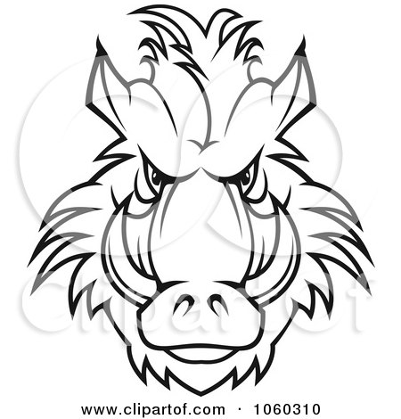 Royalty-Free Vector Clip Art Illustration of a Razorback Boar Logo - 6 by Vector Tradition SM