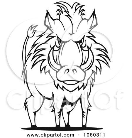 Royalty-Free Vector Clip Art Illustration of a Razorback Boar Logo - 9 by Vector Tradition SM
