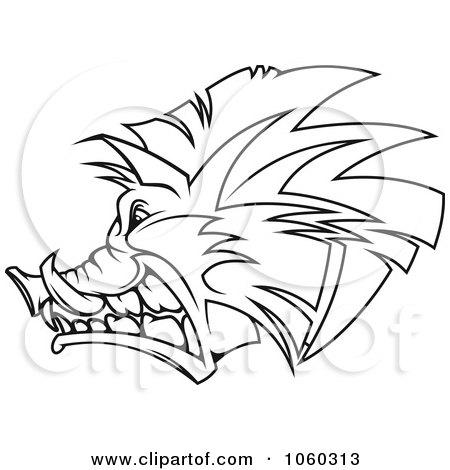 Royalty-Free Vector Clip Art Illustration of a Razorback Boar Logo - 5 by Vector Tradition SM