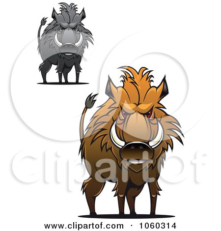 Royalty-Free Vector Clip Art Illustration of a Digital Collage Of Razorback Boar Logos - 4 by Vector Tradition SM