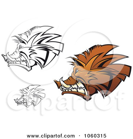 Royalty-Free Vector Clip Art Illustration of a Digital Collage Of Razorback Boar Logos - 2 by Vector Tradition SM