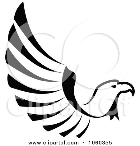 Royalty-Free Vector Clip Art Illustration of a Black And White Eagle In Flight Logo by Vector Tradition SM