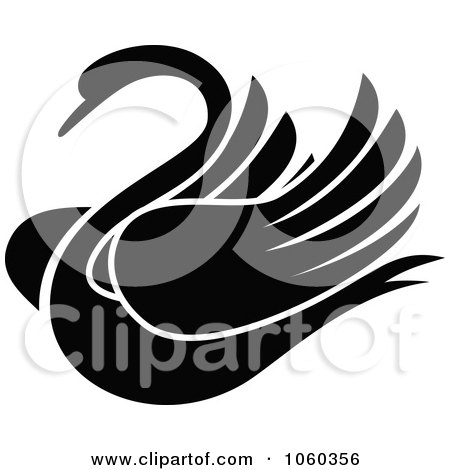 Royalty-Free Vector Clip Art Illustration of a Black And White Swan Logo by Vector Tradition SM