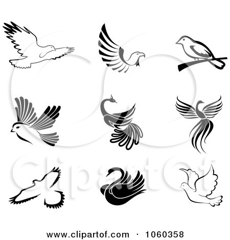 Royalty-Free Vector Clip Art Illustration of a Digital Collage Of Black And White Bird Logos by Vector Tradition SM