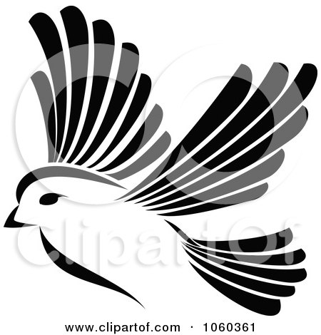 Free vector clip art illustration of a black and white bird logo 2