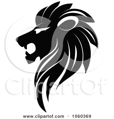 Royalty-Free Vector Clip Art Illustration of a Black And White Lion Logo - 2 by Vector Tradition SM