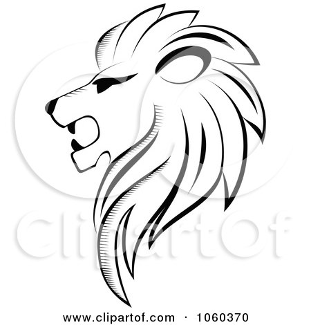 Royalty-Free Vector Clip Art Illustration of a Black And White Lion Logo - 3 by Vector Tradition SM
