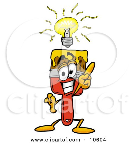 Clipart Picture of a Paint Brush Mascot Cartoon Character With a Bright Idea by Toons4Biz