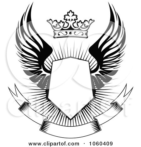 Royalty-Free Vector Clip Art Illustration of a Winged Shield With A Crown And Blank Banner - 2 by Vector Tradition SM