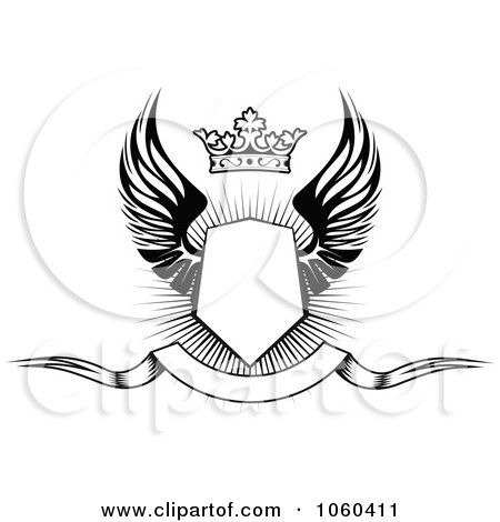 Royalty Free Vector Clip Art Illustration Of A Winged Shield With Crown And Blank Banner