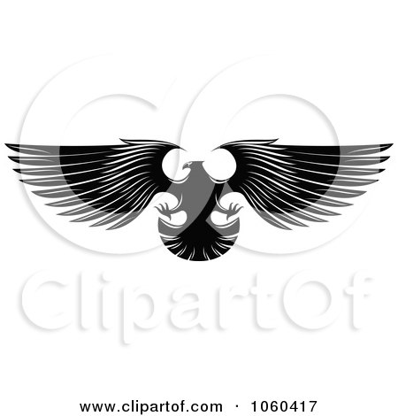 Royalty-Free Vector Clip Art Illustration of a Black And White Flying Eagle Logo - 4 by Vector Tradition SM