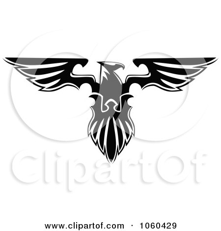 Royalty-Free Vector Clip Art Illustration of a Black And White Heraldic Eagle Logo - 3 by Vector Tradition SM