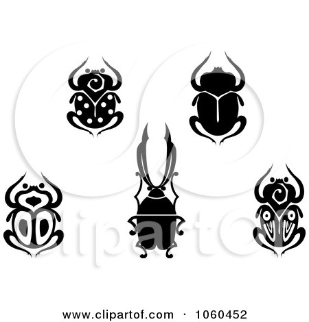Royalty-Free Vector Clip Art Illustration of a Digital Collage Of Black And White Scarab Beetle Logos by Vector Tradition SM