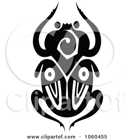 Royalty-Free Vector Clip Art Illustration of a Black And White Scarab Beetle Logo - 5 by Vector Tradition SM