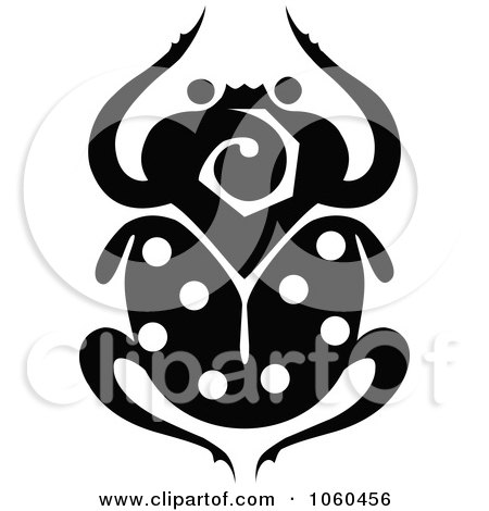 Royalty-Free Vector Clip Art Illustration of a Black And White Scarab Beetle Logo - 1 by Vector Tradition SM