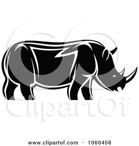 royalty free vector clip art illustration of a black and white rhino rh clipartof com gray wolf clip art grey clip art