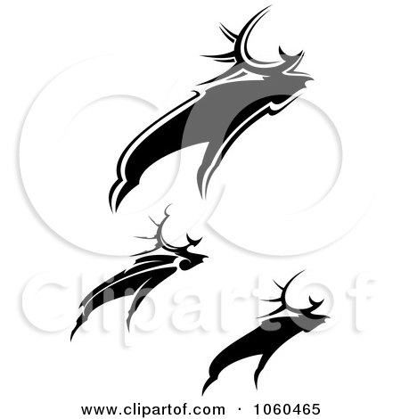 Royalty-Free Vector Clip Art Illustration of a Digital Collage Of Black And White Moose Logos by Vector Tradition SM